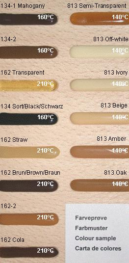 paleta culori pentru pasta de reparat noduri thermelt